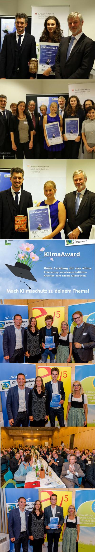 Fotos 1-5 KlimaAward 2018(c klimabündnis), Fotos 5-8 KlimaAward 2017 ( c www.spekner.at)