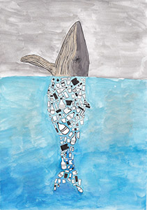 Eingezeichneter Wal, dessen Kopf aus dem Meer ragt. Der Körper ist unter Wasser und aus verschiedenen Plastik-Gegenständen geformt.